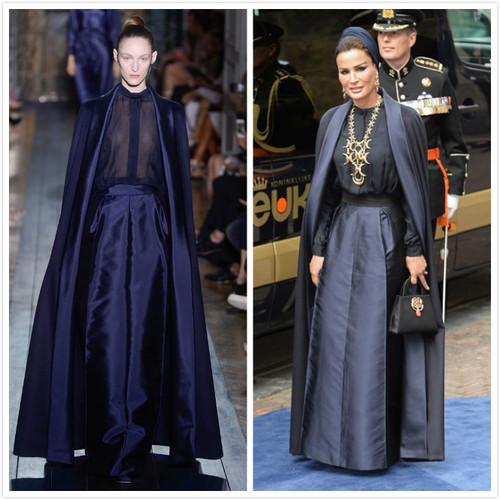 sheika y El vestido en pasarela creación de Valentino
