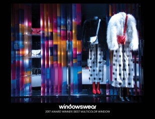 Emporio Armani, Milan, September 2017 Vibrant color-blocking panels give depth and dimension to this rainbow effect by Emporio Armani