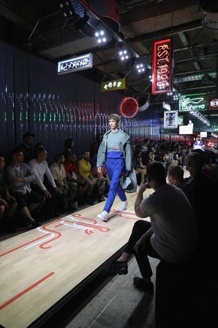 PARIS, FRANCE - JUNE 21: A model walks during the ruway during the Li-Ning Spring/Summer 2019 show as part of Paris Fashion Week at Les Nuits Fauves on June 21, 2018 in Paris, France. (Photo by Tristan Fewings/Getty Images)