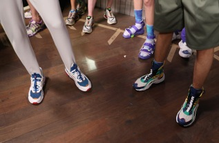 PARIS, FRANCE - JUNE 21: Clothes (shoes) detail backstage prior to the Li-Ning Spring/Summer 2019 show as part of Paris Fashion Week at Les Nuits Fauves on June 21, 2018 in Paris, France. (Photo by Tristan Fewings/Getty Images)