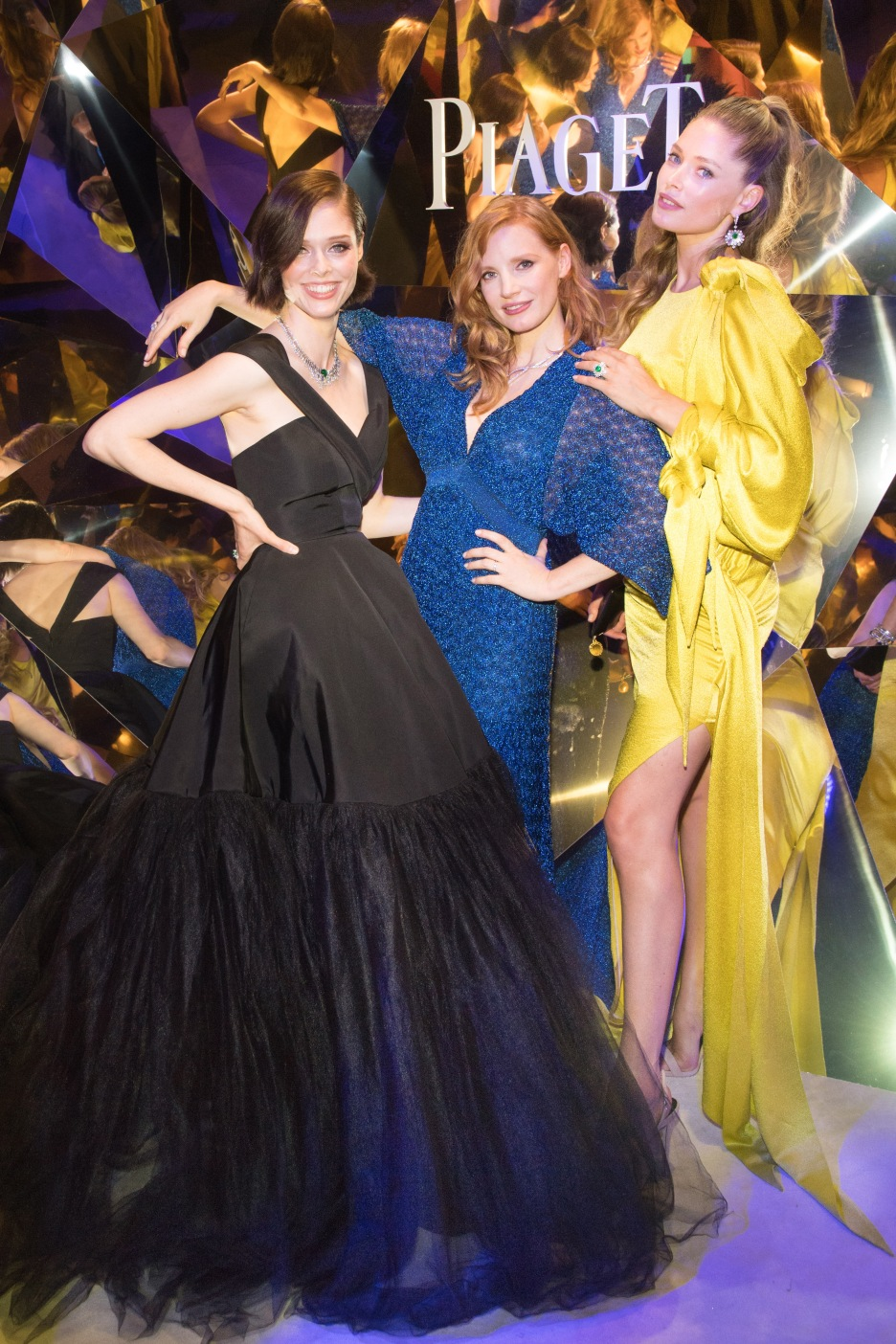 PARIS, FRANCE - JUNE 18: Coco Rocha, Jessica Chastain and Doutzen Kroes attend the Launch of Piaget sunlight escape at Palais d'Iena on June 18, 2018 in Paris, France. (Photo by Stephane Cardinale/For Piaget) *** Local Caption ***Coco Rocha, Jessica Chastain, Doutzen Kroes
