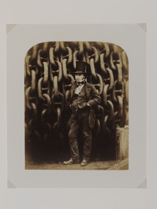 PH.246-1979 Photograph Isambard Kingdom Brunel and the launching chains of the Great Eastern; Albumen print. Howlett, Robert. Isambard Kingdom Brunel and Launching Chains of the 'Great Eastern' 1857; 1857; Howlett, Robert. Isambard Kingdom Brunel and Launching Chains of the 'Great Eastern' 1857 Robert Howlett (1830-1858) Great Britain 1857 Albumen print from wet collodion on glass negative