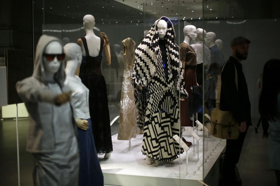 "LONDON, April 18, 2018 (Xinhua) -- A man visits the exhibition ""Fashioned from Nature"" at Victoria and Albert Museum in London, Britain, on April 18, 2018. The exhibition will open to public on April 21, exploring the relationship between fashion and nature. (Xinhua/Tim Ireland/IANS)"