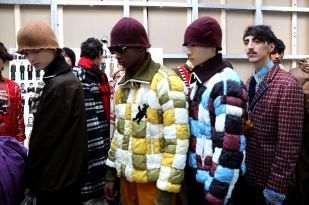 seen backstage ahead of the Marni show during Milan Men's Fashion Week Fall/Winter 2018/19 on January 13, 2018 in Milan, Italy.
