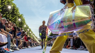 PARIS, FRANCE - JUNE 21: A model, bag detail, walks the runway during the Louis Vuitton Menswear Spring/Summer 2019 show as part of Paris Fashion Week on June 21, 2018 in Paris, France. (Photo by Peter White/Getty Images)