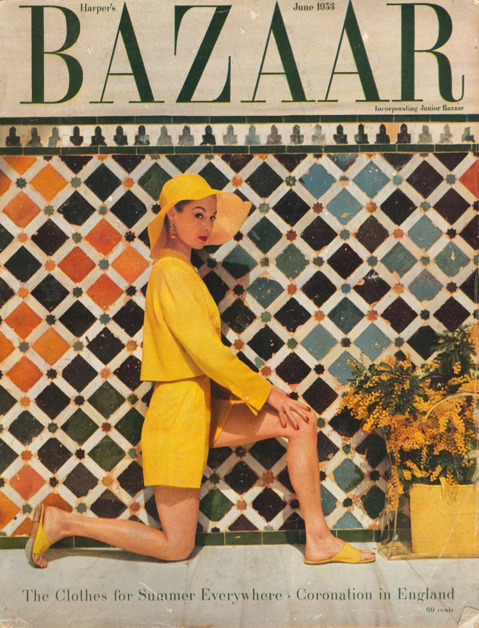 Harpers Bazaar Cover June 1953 Jean Patchett Fashion Shorts and short square jacket by Clare Potter at the Alhambra Spain Photograph by Louise D