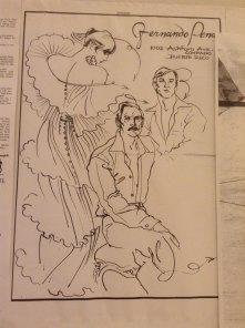Una ilustración de Antonio López,muestra en primer plano al diseñador cubano, radicado en PR, Fernando Pena. Aquí junto a su socio Roberto París. Pena elevo la moda en la isla creando un verdadero ambiente de alta costura.