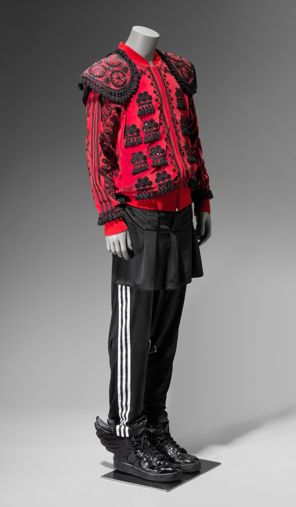 Ensemble (Jacket, Pants, Skirt) Designed by: Jeremy Scott (American, founded 1997) Designed for: Adidas Originals (American) American *Museum purchase with funds donated by the Fashion Council *Photograph © Museum of Fine Arts, Boston