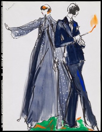 Two female models, on in sheer evening coat with dress, the other in a men's style suit holding a flaming cigarette Kenneth Paul Block (American, 1925–2009) February 6–13, 1976 Opaque and transparent watercolor with black marker * Gift of Kenneth Paul Block, made possible with the generous assistance of Jean S. and Frederic A. Sharf * Photograph © Museum of Fine Arts, Boston