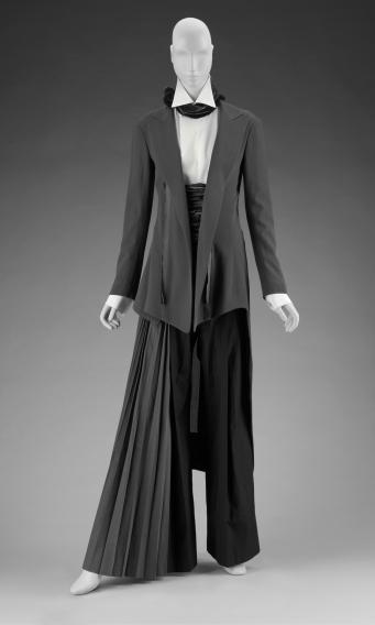 Woman's ensemble in five parts (tailcoat) Yohji Yamamoto (Japanese, born in 1943) Spring 2007 Wool crepe gauze weave with silk plain weave cotton * Gift of Yohji Yamamoto, Inc. * Photograph © Museum of Fine Arts, Boston