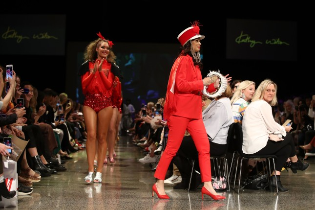 AUCKLAND, NEW ZEALAND - AUGUST 29: A model walks the runway during the Kathryn Wilson show during New Zealand Fashion Week 2018 at Viaduct Events Centre on August 29, 2018 in Auckland, New Zealand. (Photo by Hannah Peters/Getty Images)