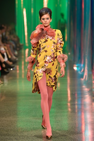 AUCKLAND, NEW ZEALAND - AUGUST 30: A model walks the runway during the Trelise Cooper show during New Zealand Fashion Week 2018 at Viaduct Events Centre on August 30, 2018 in Auckland, New Zealand. (Photo by Stefan Gosatti/Getty Images)