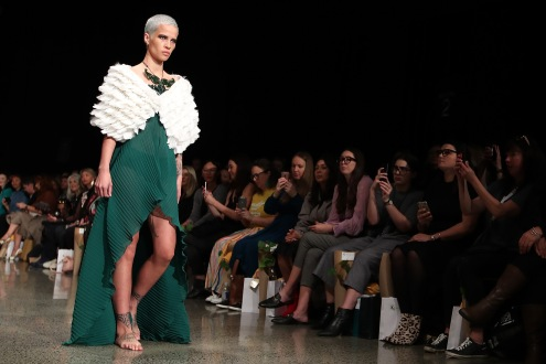 AUCKLAND, NEW ZEALAND - AUGUST 29: A model walks the runway during the Kiri Nathan show during New Zealand Fashion Week 2018 at Viaduct Events Centreâ on August 29, 2018 in Auckland, New Zealand (Photo by Fiona Goodall/Getty Images)