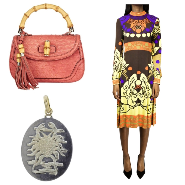 Gucci ostrich-leather bag, 2011; Léonard Paris silk jersey print dress, Autumn/Winter 1971; Buccellati Cancer pendant, 21st century
