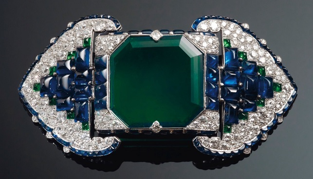 emerald-sapphire-diamond-brooch