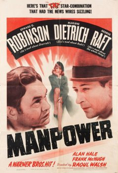 The film poster for Manpower, 1941